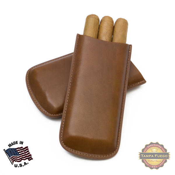 Tampa Fuego Cigar Case Genuine Leather Cognac Lined Standard