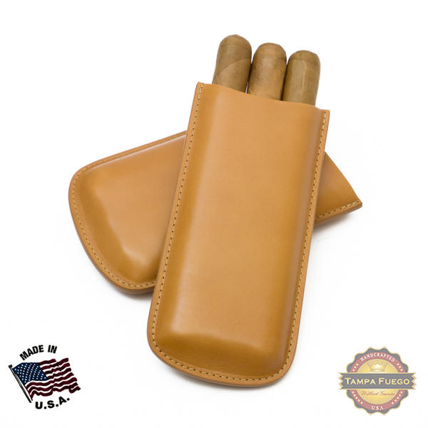 Tampa Fuego Cigar Case Genuine Leather Natural Lined Standard - SPO