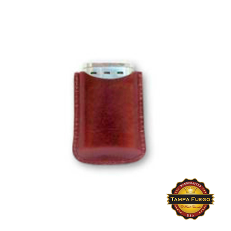 Tampa Fuego Cigar Lighter Case Genuine Leather Burgundy Lined Fits Xikar- SPO Thumbnail 1