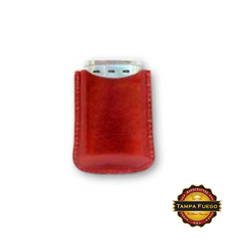 Tampa Fuego Cigar Lighter Case Genuine Leather Red Lined Fits Xikar In Stock