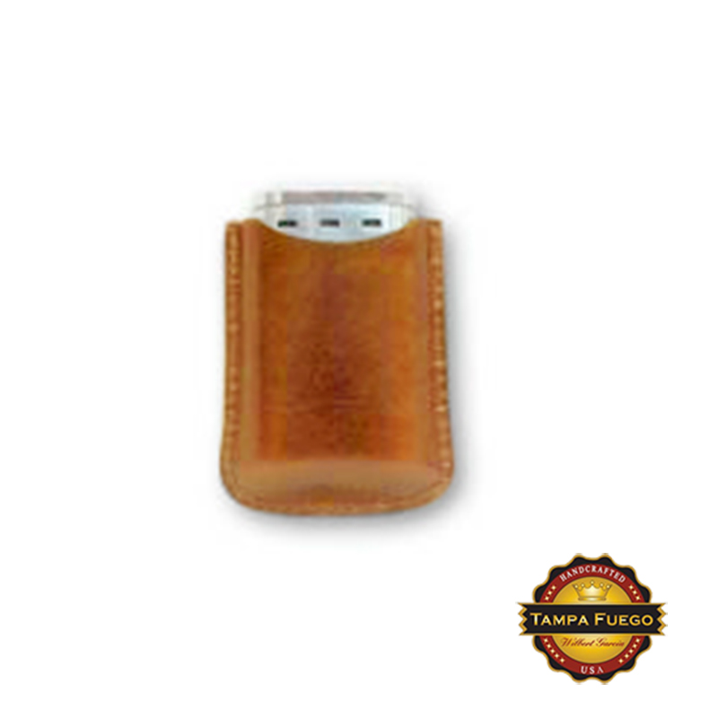 Tampa Fuego Cigar Lighter Case Genuine Leather Natural Lined Fits Xikar