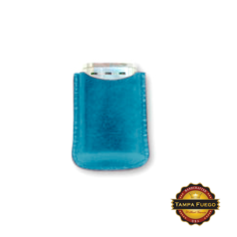 Tampa Fuego Cigar Lighter Case Genuine Leather Blue Lined Fits Xikar- On Hand