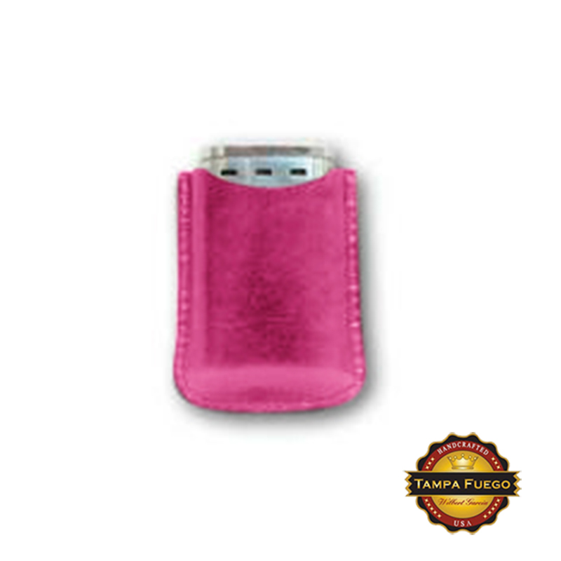 Tampa Fuego Cigar Lighter Case Genuine Leather Pink Lined Fits Xikar- On Hand