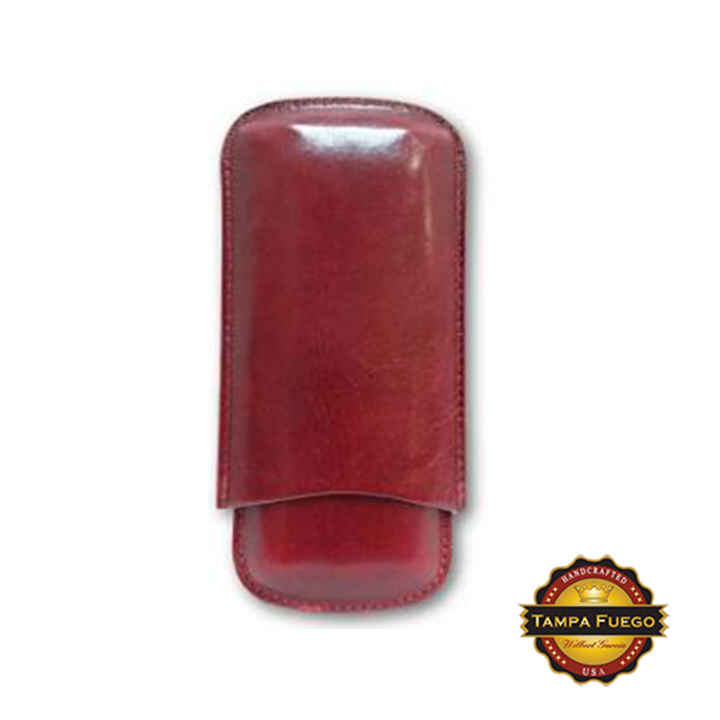 Tampa Fuego Cigar Case Genuine Leather Burgundy Unlined Father's Day