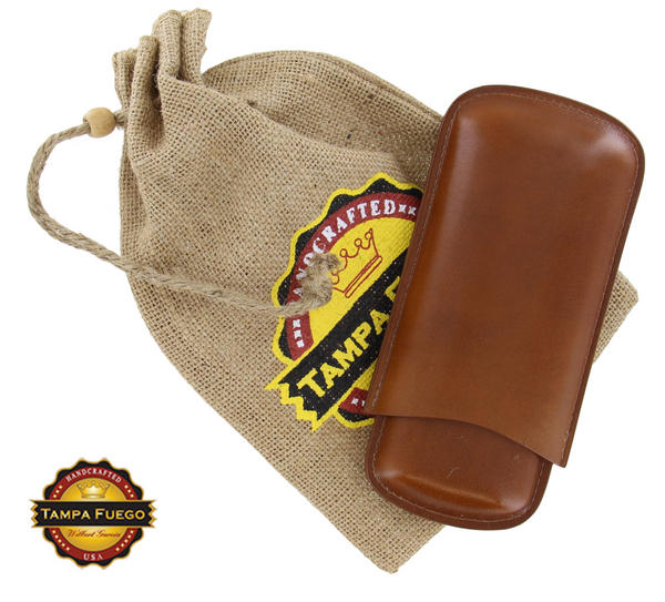 Tampa Fuego Cigar Case Genuine Leather Cognac Unlined Father's Day