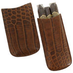 Tampa Fuego Cigar Case Crocodile Grain Leather Cognac Standard Father's Day Thumbnail 3