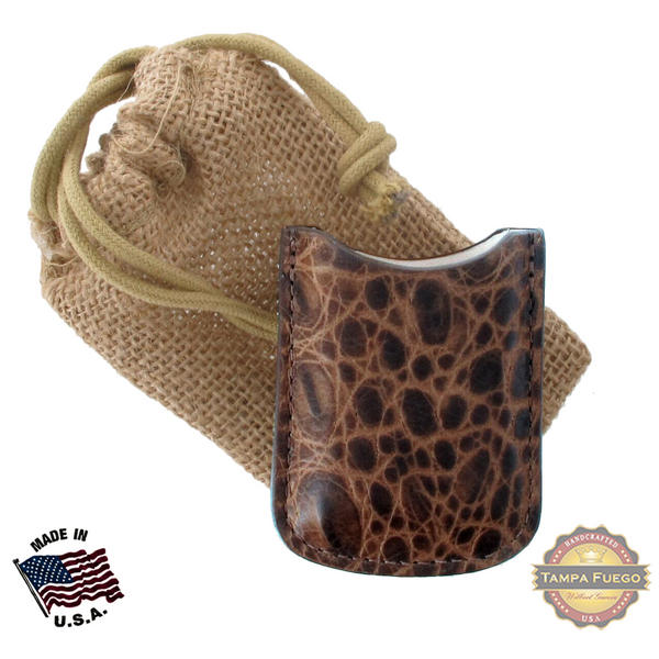 Tampa Fuego Brown Cigar Lighter Case Crocodile Grain Fits Xikar Father's Day