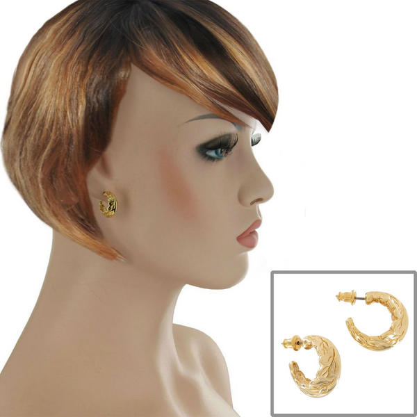 Pierced Small Huggie Hoop Yellow Gold Tone Leaf Earrings