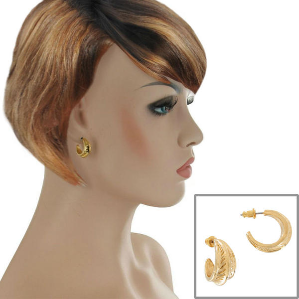 Pierced Earrings Small Huggie Hoop Yellow Gold Tone Feather