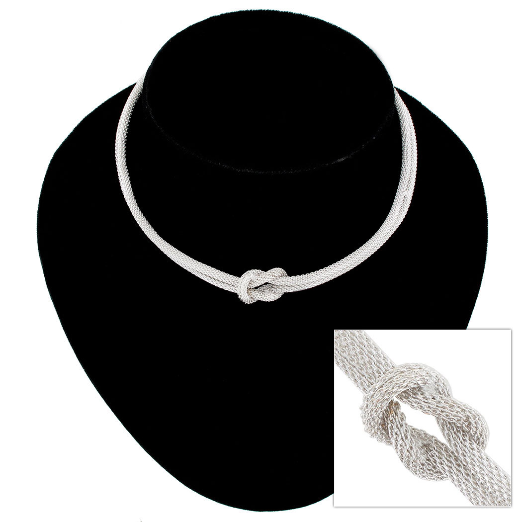 Silver Tone Mesh Knot 2 Strand Tight Choker Necklace Dog Collar USA Made