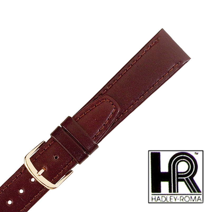 Hadley Roma MS709 18mm Regular Mens Brown Stitched Genuine Leather Watch Strap Band
