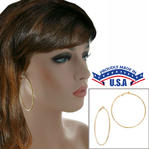 "Ky & Co Yellow Gold Tone Plain Wire Clip On Hoop Earrings 2 5/8"" USA Made"