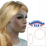 "Ky & Co USA Made Large Rose Gold Tone Clip On Plain Wire 3"" Hoop Earrings Thumbnail 1"