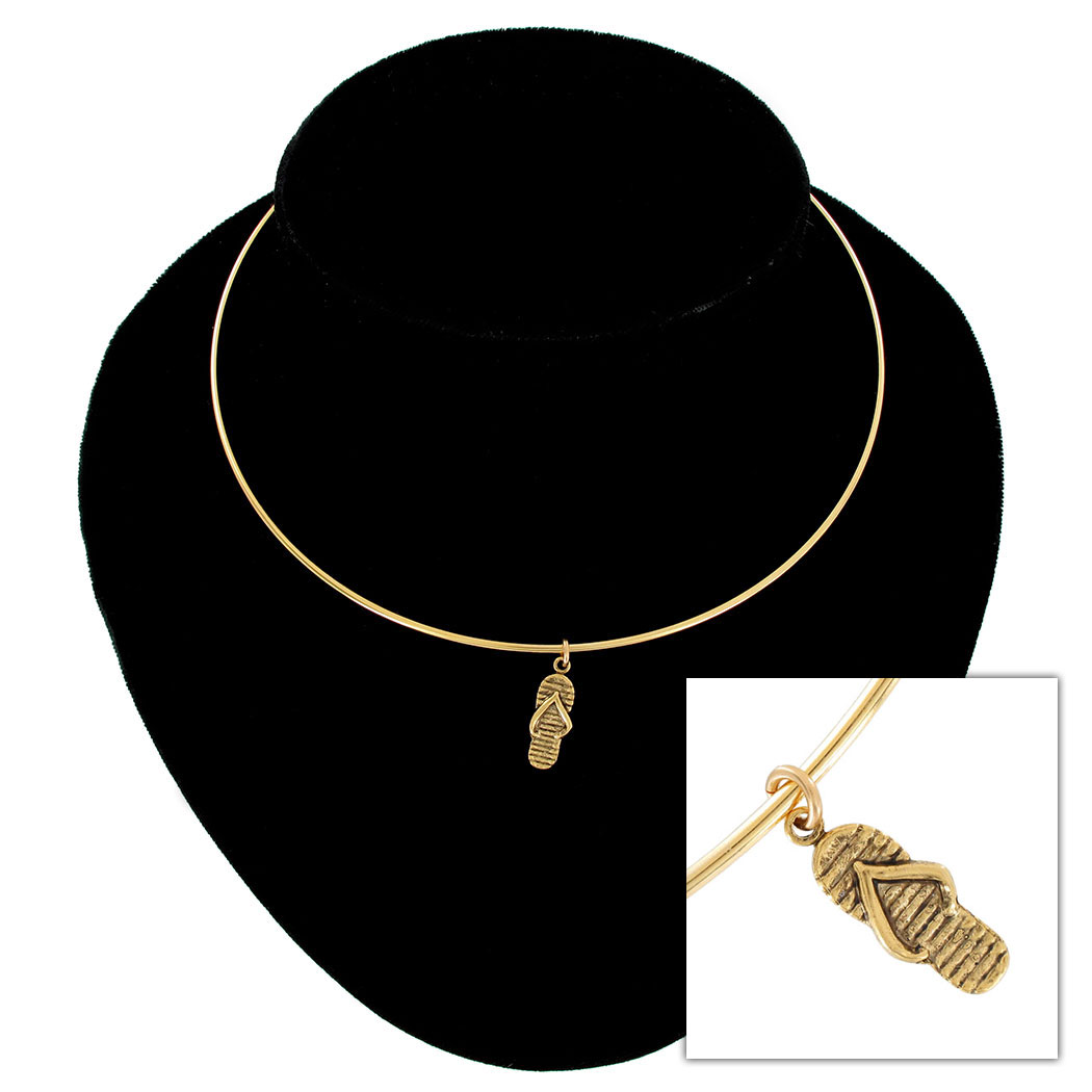 usa made gold tone collar necklace flip flop sandal