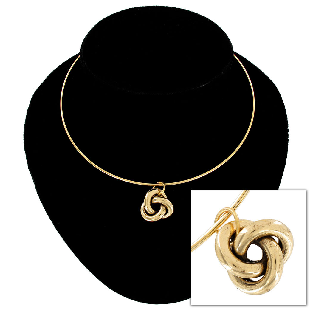 Ky & Co Gold Tone Nautical Knot Pendant Collar Necklace USA Made