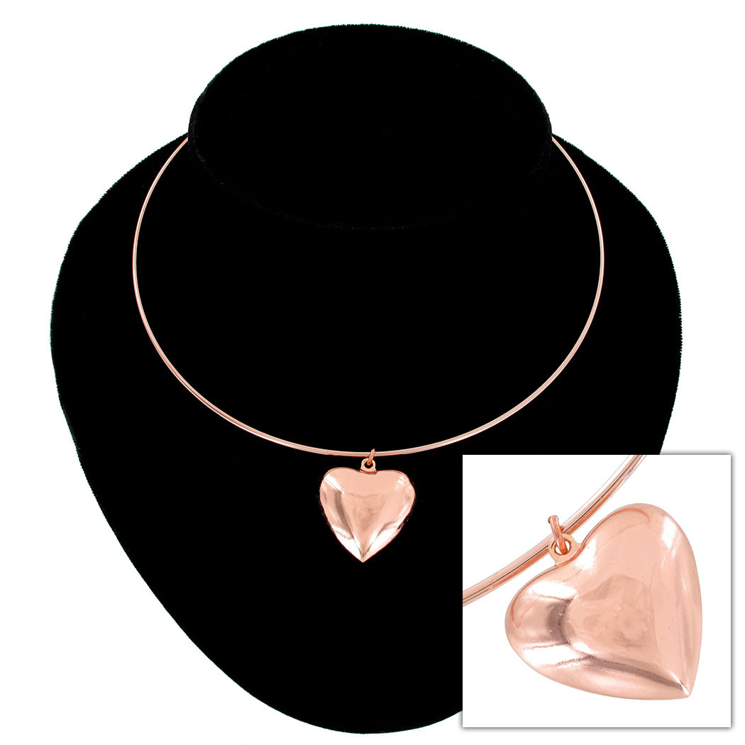KY & Co USA Made Collar Necklace Rose Gold Tone Plain Puffy Heart