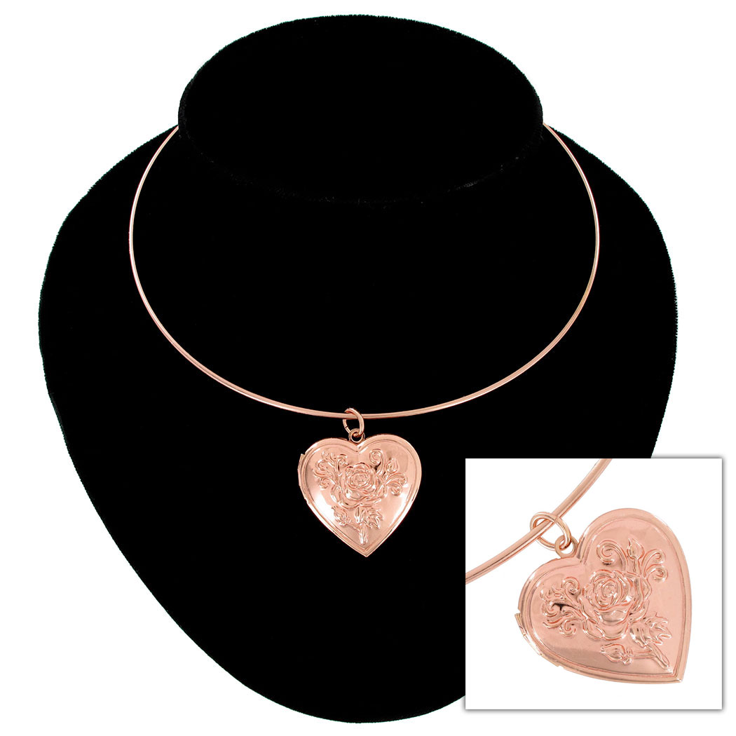 KY & Co USA Made Rose Gold Tone Flower Heart Photo Locket Pendant Necklace