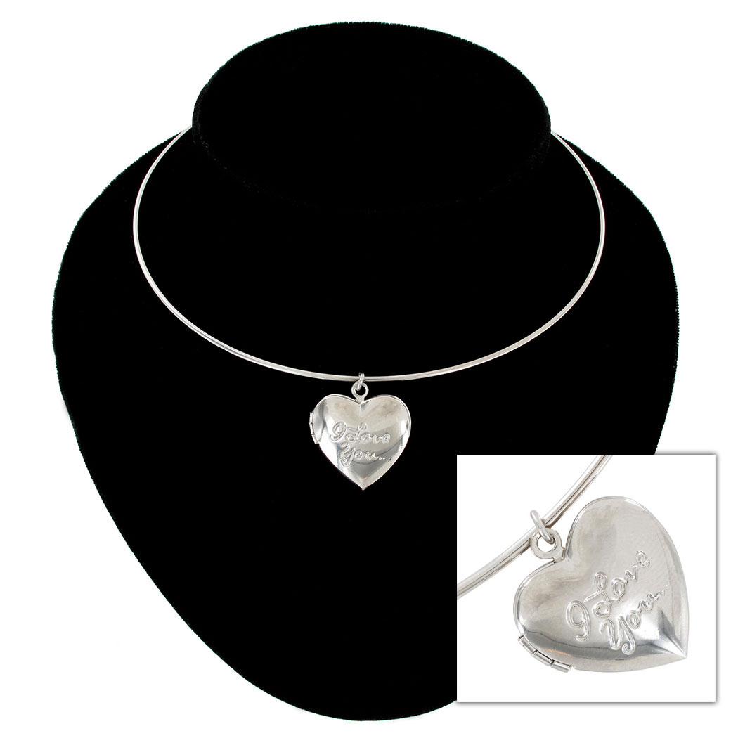 KY & Co USA Made Collar Necklace Silver Tone Heart Locket Pendant I Love You