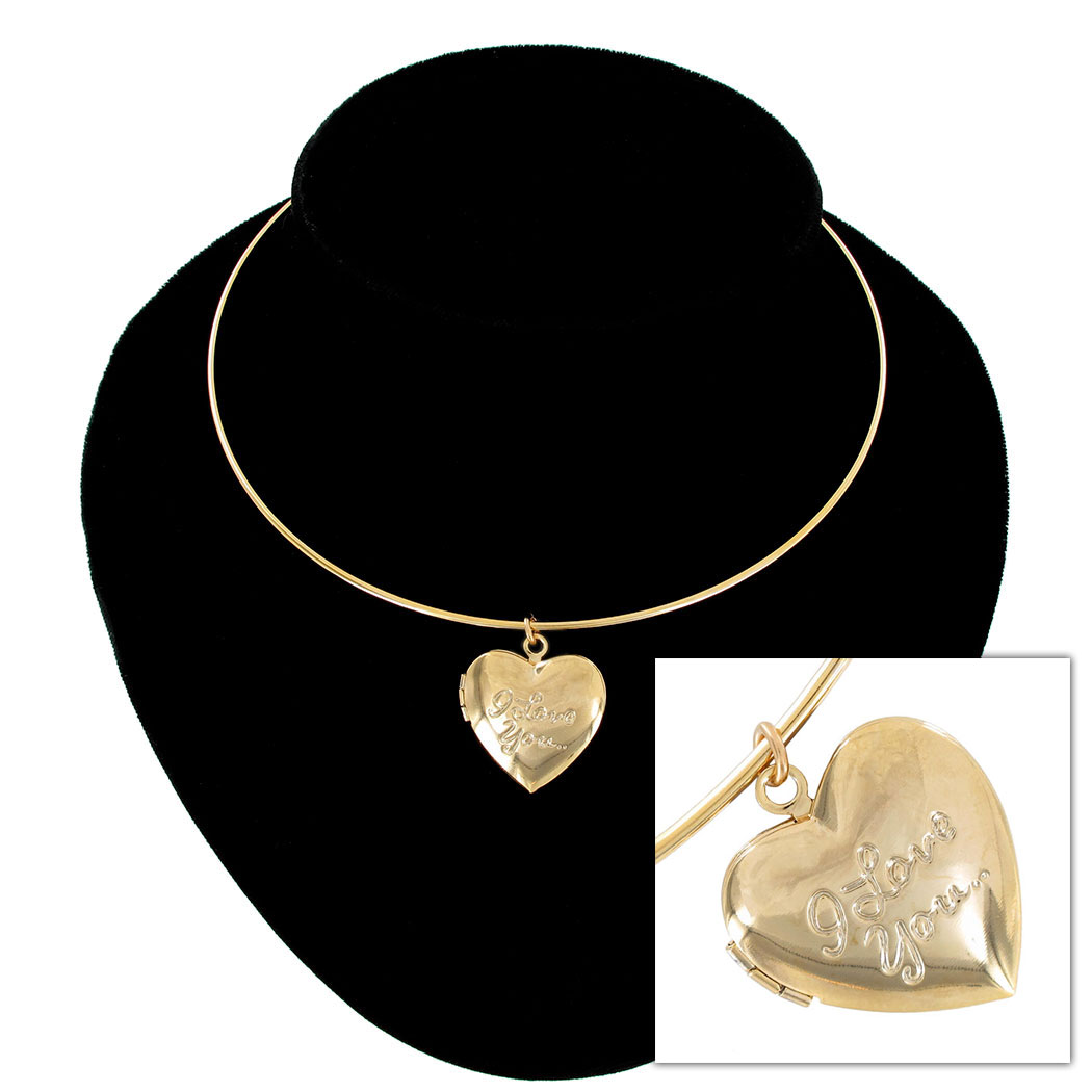 KY & Co USA Made Collar Necklace Gold Tone Heart Locket Pendant I Love You