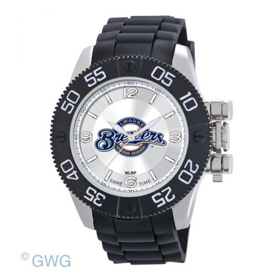 Milwaukee Brewers Game Time MLB Beast Black Polyurethane Men Watch MTO