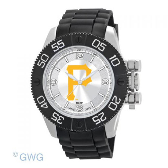 Pittsburgh Pirates P Logo Game Time MLB Beast Black Polyurethane Men Watch MTO