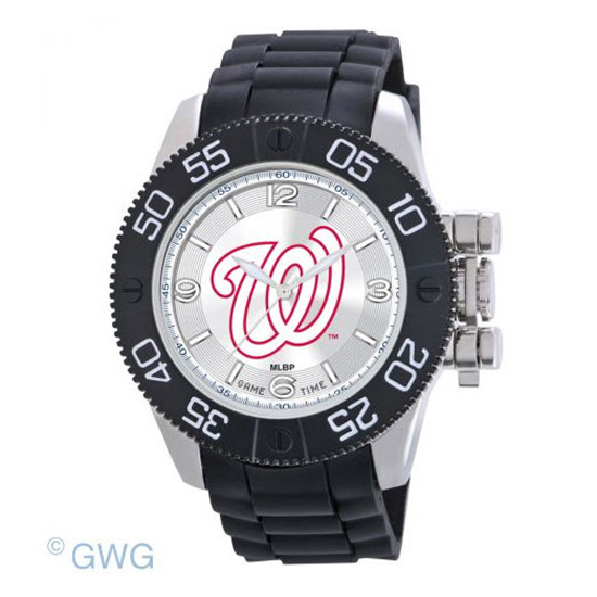 Washington Nationals Game Time MLB Cage Black Polyurethane Men Watch MTO