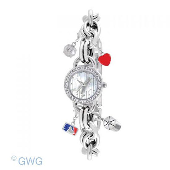 New York Yankees Pinstripe Game Time MLB Charm Bracelet Women Watch MTO