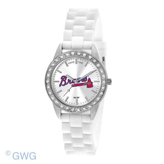 Atlanta Braves Game Time Frost MLB White Silicone Women's Watch MTO