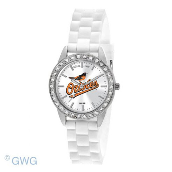 Baltimore Orioles Game Time Frost MLB White Silicone Women's Watch MTO