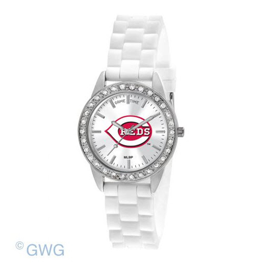 Cincinnati Reds Game Time Frost MLB White Silicone Women's Watch MTO
