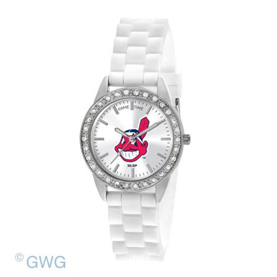 Cleveland Indians Game Time Frost MLB White Silicone Women's Watch MTO