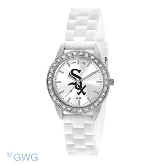 Chicago White Sox Game Time Frost MLB White Silicone Women's Watch MTO