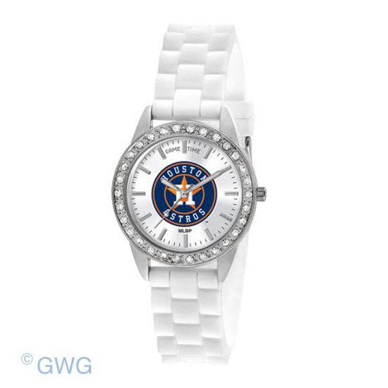 Houston Astros Game Time Frost MLB White Silicone Women's Watch MTO