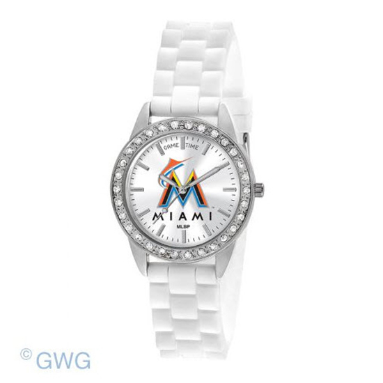 Miami Marlins Game Time Frost MLB White Silicone Women's Watch MTO