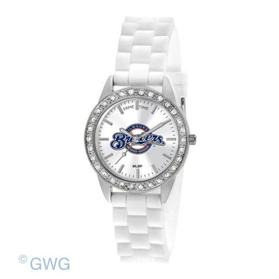 Milwaukee Brewers Game Time Frost MLB White Silicone Women's Watch MTO