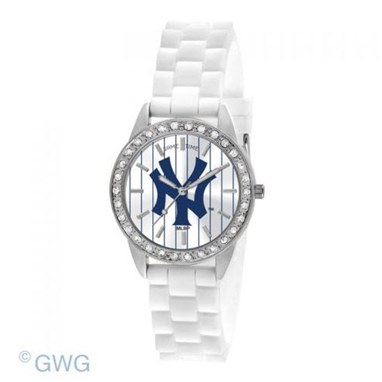New York Yankees Game Time Frost MLB White Silicone Women's Watch MTO