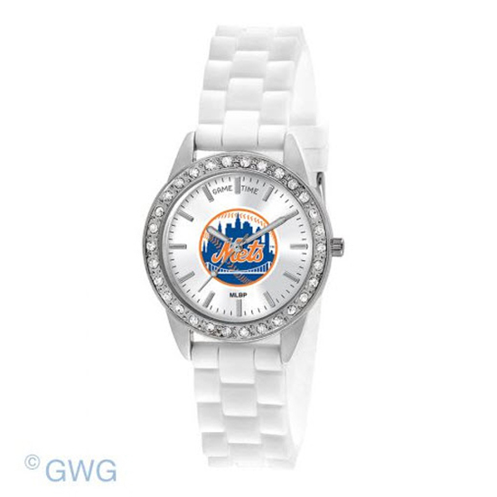 New York Mets Game Time Frost MLB White Silicone Women's Watch MTO