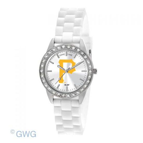 Pittsburgh Pirates P Logo Game Time Frost MLB White Silicone Women's Watch MTO