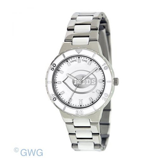 Cincinnati Reds MLB Game Time Pearl Silver Tone Women's Dress Watch MTO