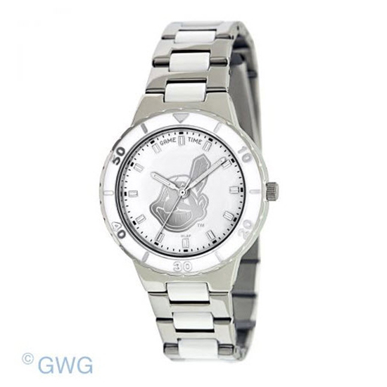 Cleveland Indians MLB Game Time Pearl Silver Tone Women's Dress Watch MTO