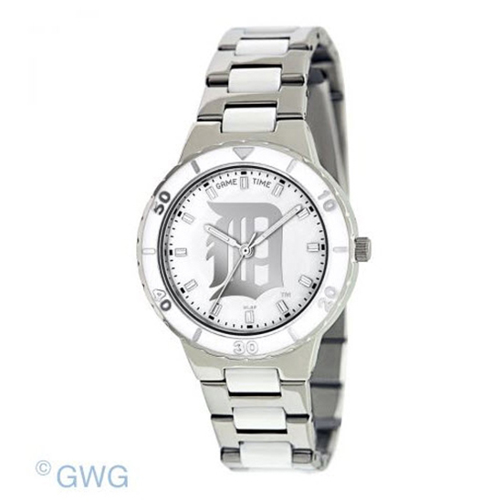 Detroit Tigers MLB Game Time Pearl Silver Tone Women's Dress Watch MTO