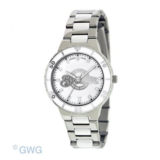 Milwaukee Brewers MLB Game Time Pearl Silver Tone Women's Dress Watch MTO