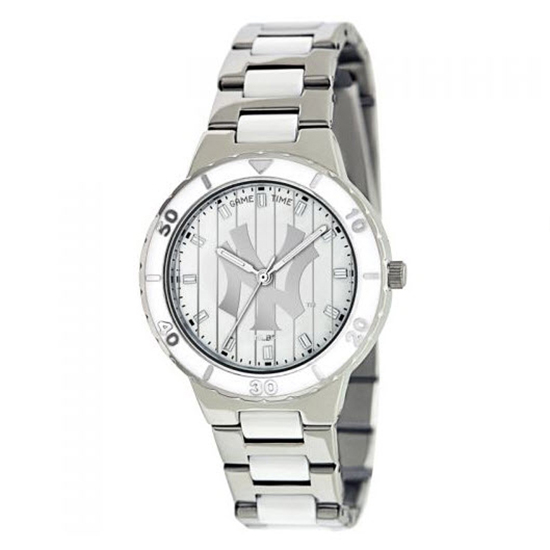 New York Yankees Pinstripe MLB Game Time Pearl Silver Tone Women Dress Watch MTO