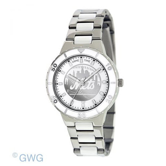 New York Mets MLB Game Time Pearl Silver Tone Women's Dress Watch MTO