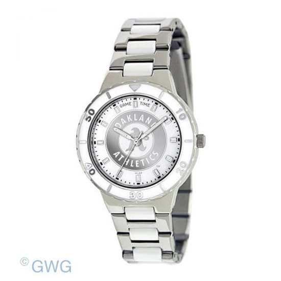Oakland Athletics MLB Game Time Pearl Silver Tone Women's Dress Watch MTO