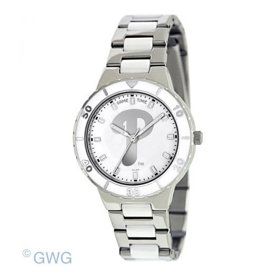 Philadelphia Phillies MLB Game Time Pearl Silver Tone Women's Dress Watch MTO
