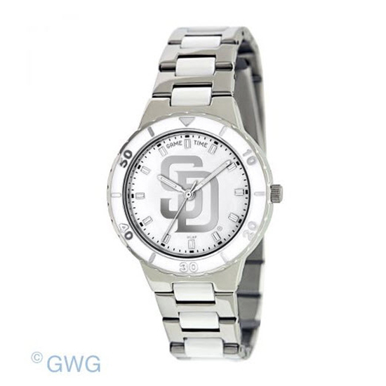 San Diego Padres MLB Game Time Pearl Silver Tone Women's Dress Watch MTO