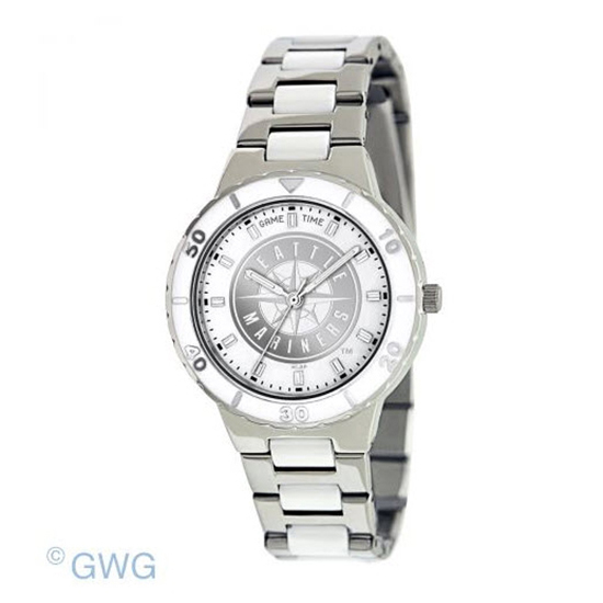 Seattle Mariners MLB Game Time Pearl Silver Tone Women's Dress Watch MTO