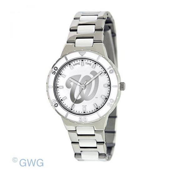 Washington Nationals MLB Game Time Pearl Silver Tone Women's Dress Watch MTO