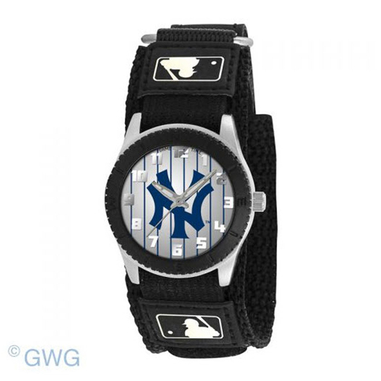 New York Yankees Pinstripe Game Time MLB Rookie Black Juniors Unisex Watch MTO